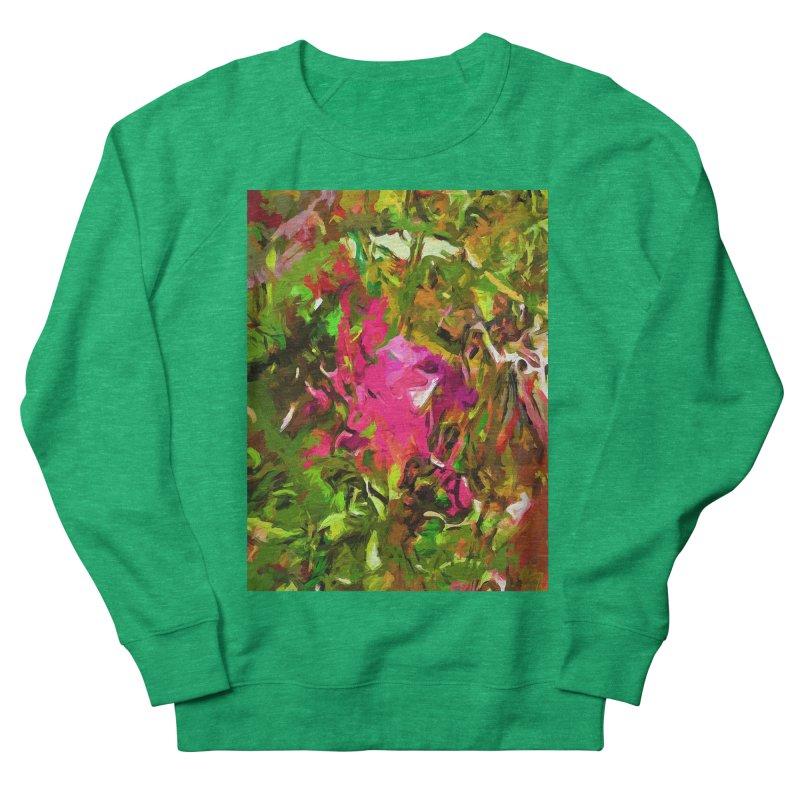 Rosebud Rhapsody Green Hot Pink Dab Men's French Terry Sweatshirt by jackievano's Artist Shop