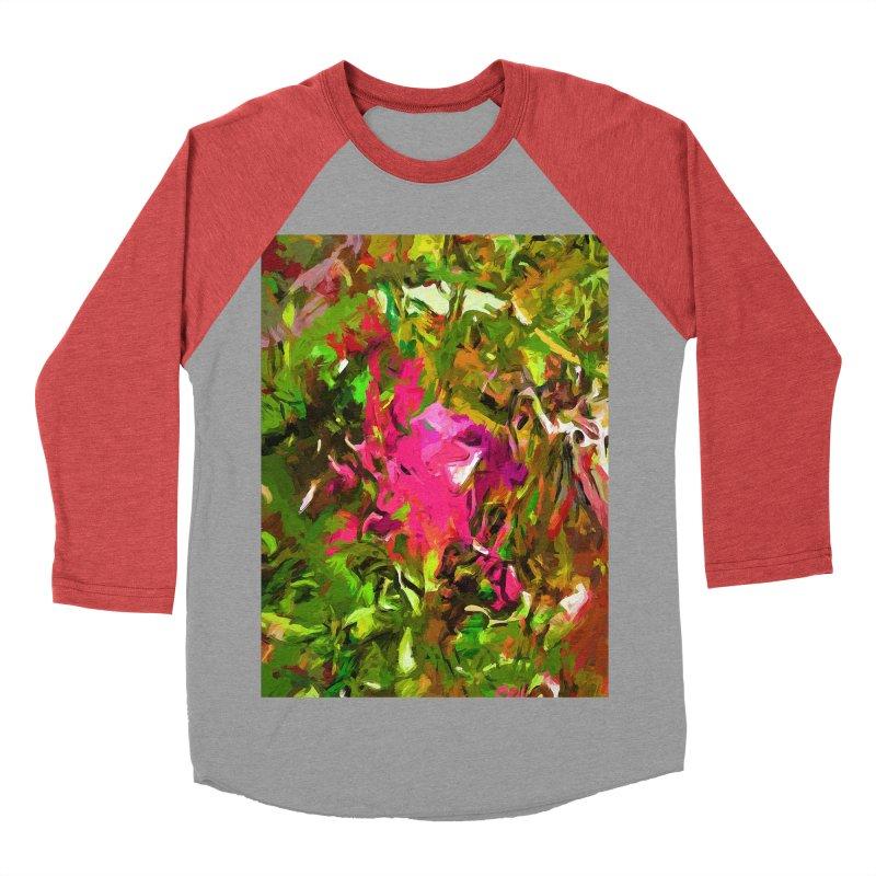 Rosebud Rhapsody Green Hot Pink Dab Women's Baseball Triblend Longsleeve T-Shirt by jackievano's Artist Shop