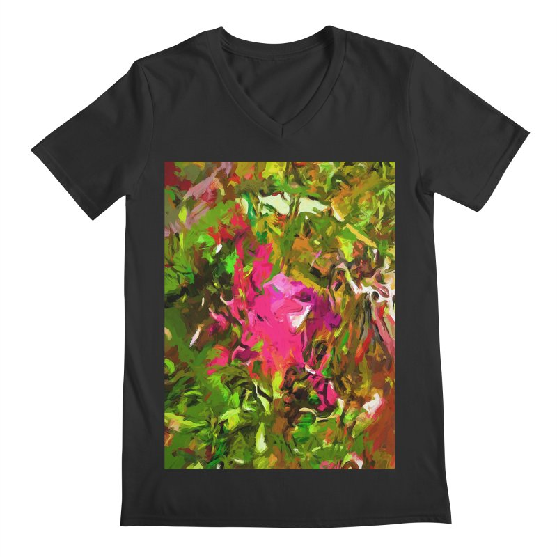 Rosebud Rhapsody Green Hot Pink Dab Men's Regular V-Neck by jackievano's Artist Shop