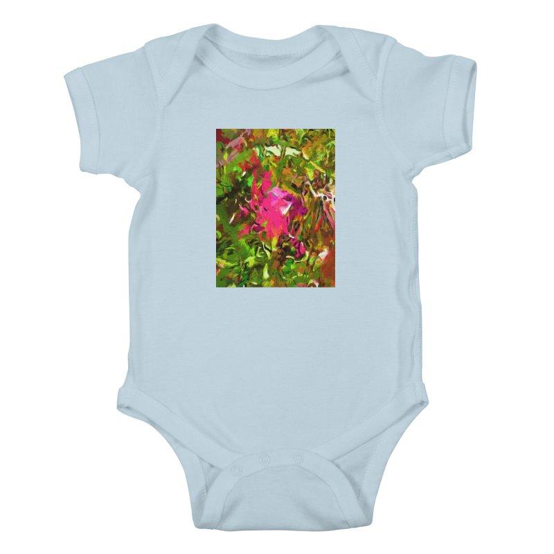 Rosebud Rhapsody Green Hot Pink Dab Kids Baby Bodysuit by jackievano's Artist Shop