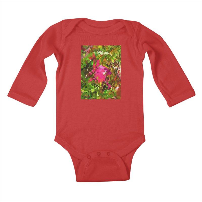 Rosebud Rhapsody Green Hot Pink Dab Kids Baby Longsleeve Bodysuit by jackievano's Artist Shop
