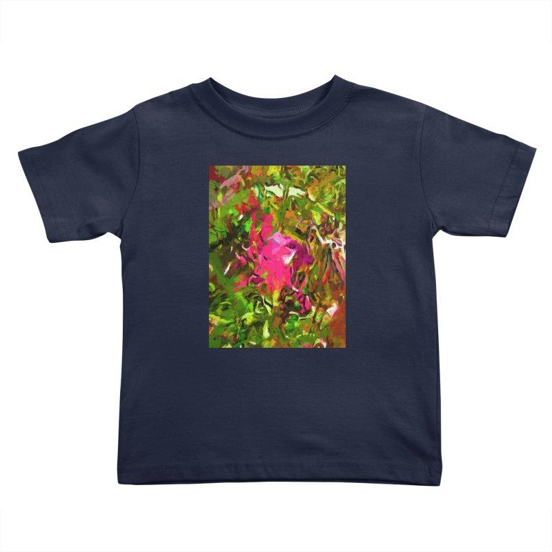 Rosebud Rhapsody Green Hot Pink Dab Kids Toddler T-Shirt by jackievano's Artist Shop