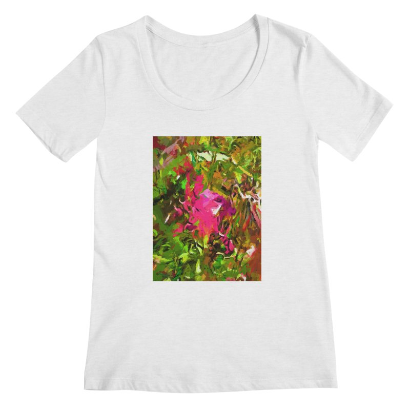 Rosebud Rhapsody Green Hot Pink Dab Women's Regular Scoop Neck by jackievano's Artist Shop