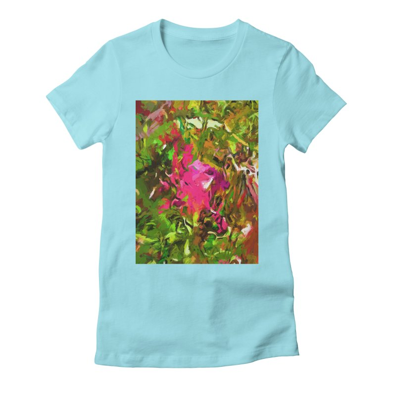 Rosebud Rhapsody Green Hot Pink Dab Women's Fitted T-Shirt by jackievano's Artist Shop