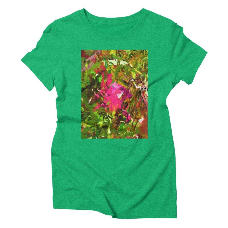 Rosebud Rhapsody Green Hot Pink Dab Women's Triblend T-Shirt by jackievano's Artist Shop