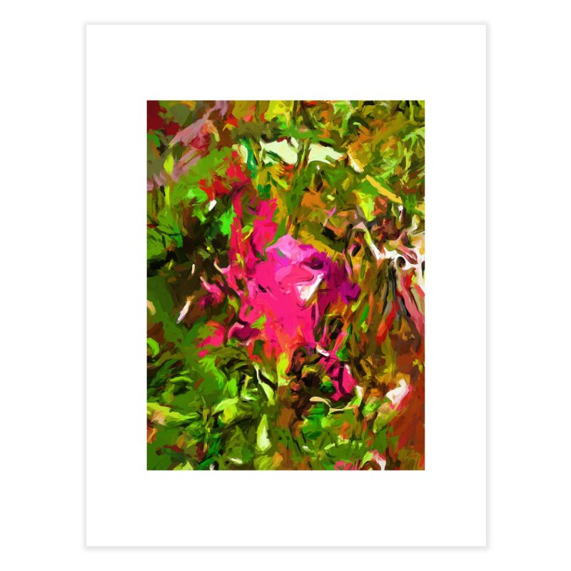 Rosebud Rhapsody Green Hot Pink Dab Home Fine Art Print by jackievano's Artist Shop