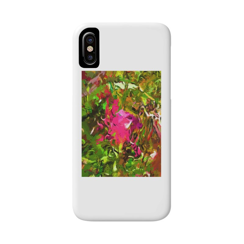 Rosebud Rhapsody Green Hot Pink Dab Accessories Phone Case by jackievano's Artist Shop