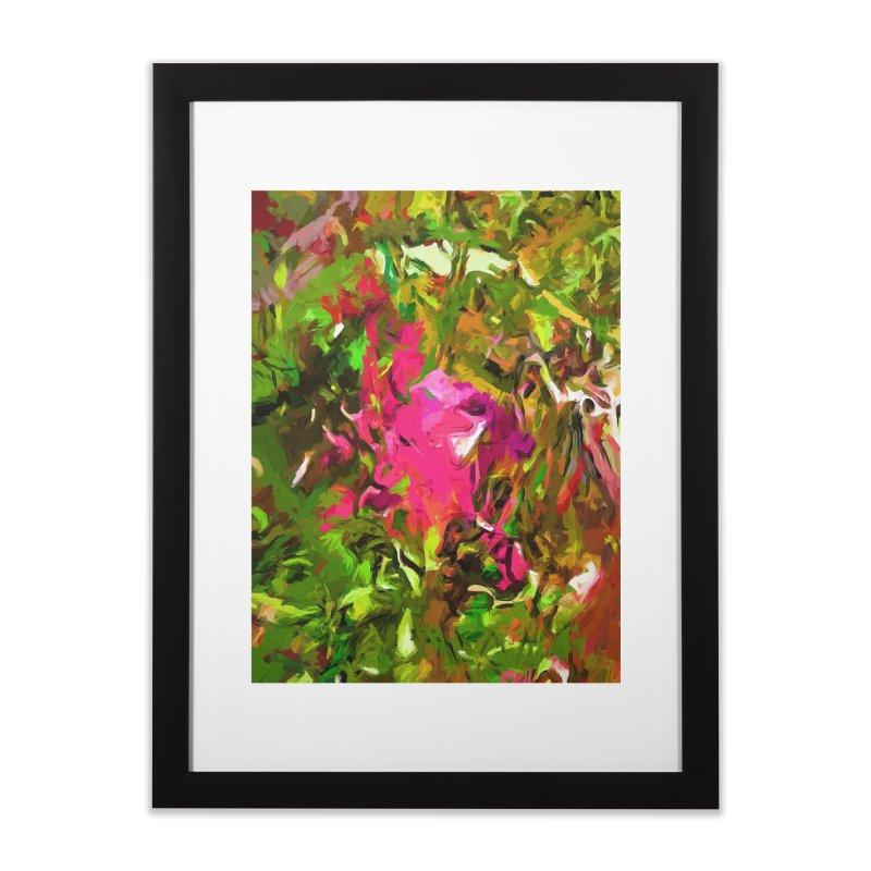 Rosebud Rhapsody Green Hot Pink Dab Home Framed Fine Art Print by jackievano's Artist Shop