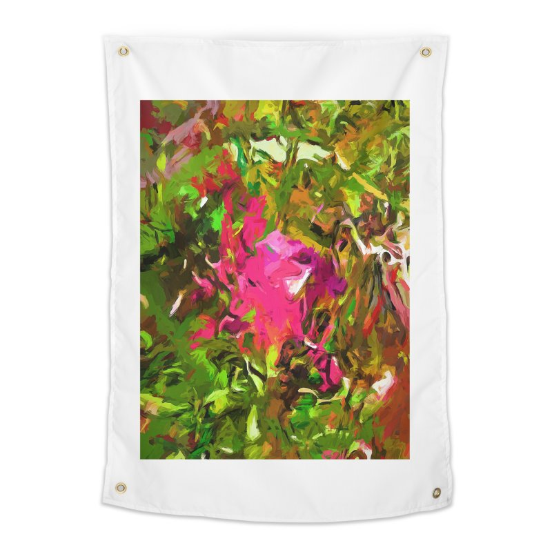 Rosebud Rhapsody Green Hot Pink Dab Home Tapestry by jackievano's Artist Shop