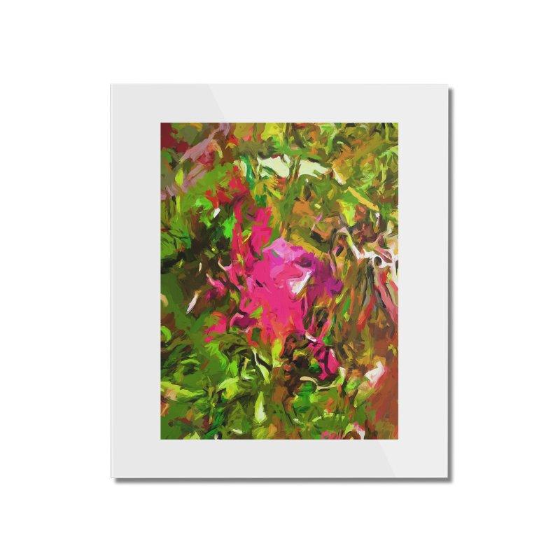 Rosebud Rhapsody Green Hot Pink Dab Home Mounted Acrylic Print by jackievano's Artist Shop