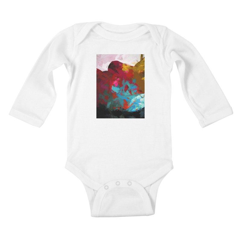 September Splash Apple Banana Turquoise Brown Kids Baby Longsleeve Bodysuit by jackievano's Artist Shop