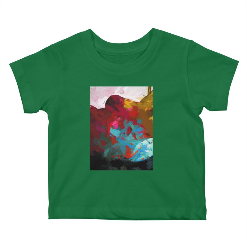 September Splash Apple Banana Turquoise Brown Kids Baby T-Shirt by jackievano's Artist Shop
