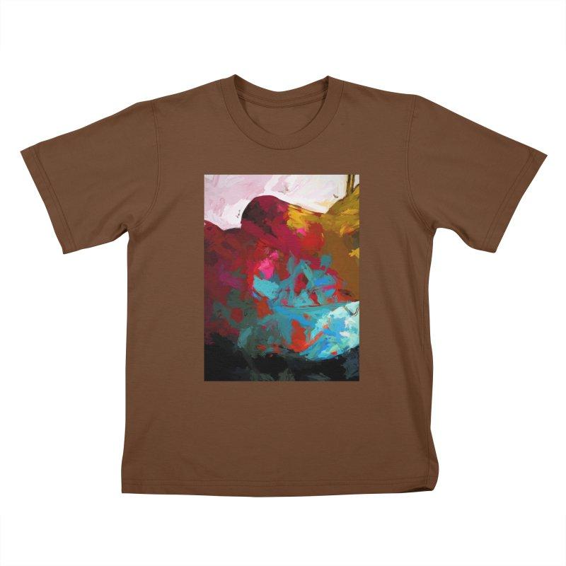 September Splash Apple Banana Turquoise Brown Kids T-Shirt by jackievano's Artist Shop