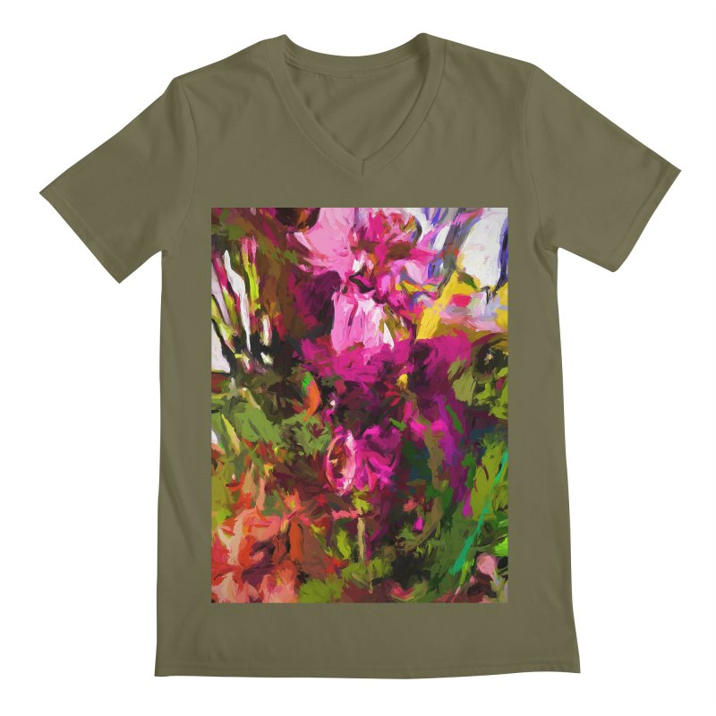 Lolly Pink Flower Rhapsody Magenta Dab Men's Regular V-Neck by jackievano's Artist Shop
