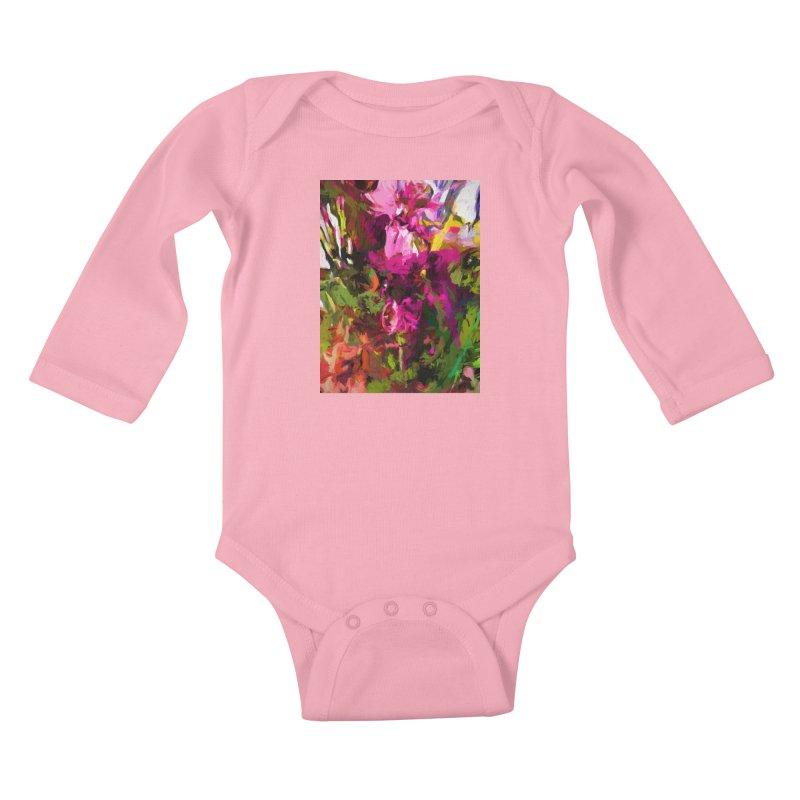 Lolly Pink Flower Rhapsody Magenta Dab Kids Baby Longsleeve Bodysuit by jackievano's Artist Shop