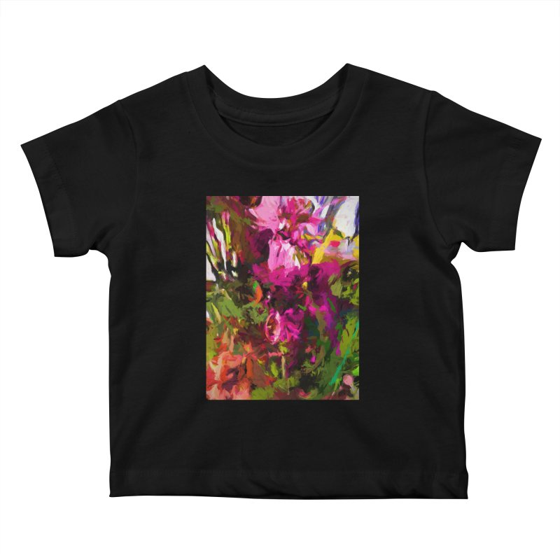 Lolly Pink Flower Rhapsody Magenta Dab Kids Baby T-Shirt by jackievano's Artist Shop