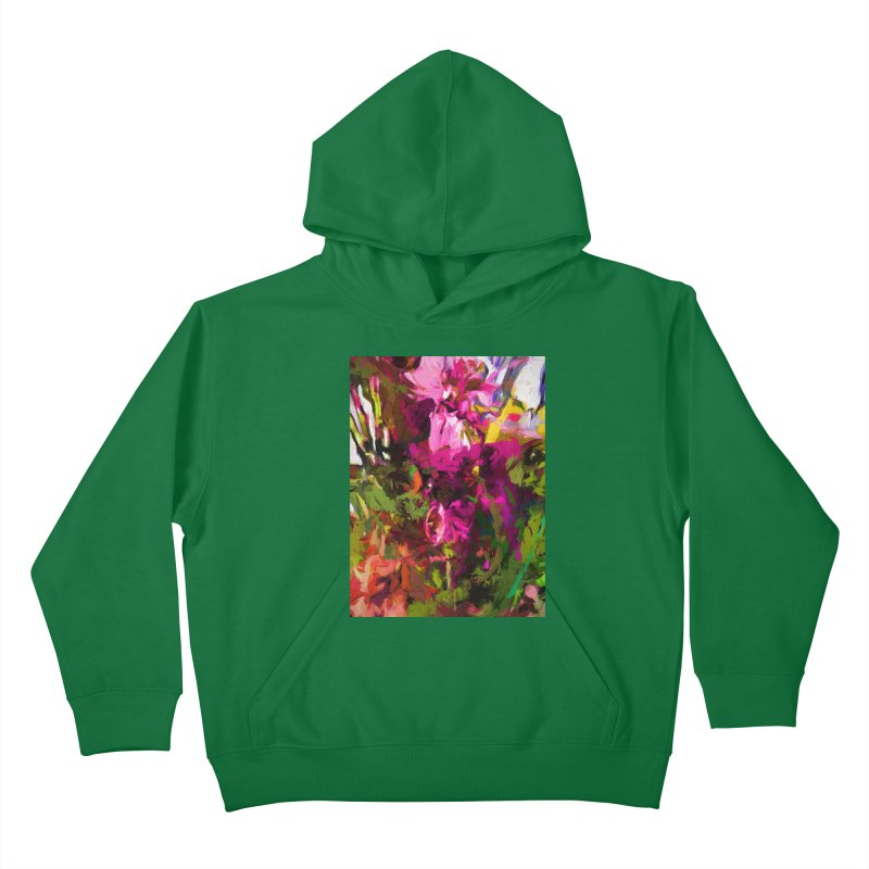 Lolly Pink Flower Rhapsody Magenta Dab Kids Pullover Hoody by jackievano's Artist Shop