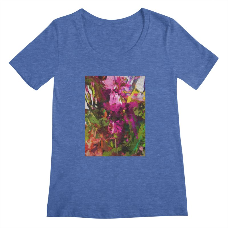 Lolly Pink Flower Rhapsody Magenta Dab Women's Regular Scoop Neck by jackievano's Artist Shop