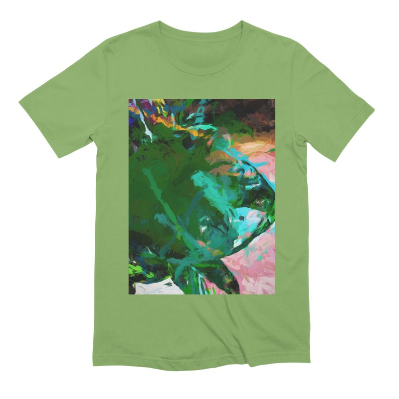 Green Leaf Killer Whale Turquoise Blue Men's Extra Soft T-Shirt by jackievano's Artist Shop