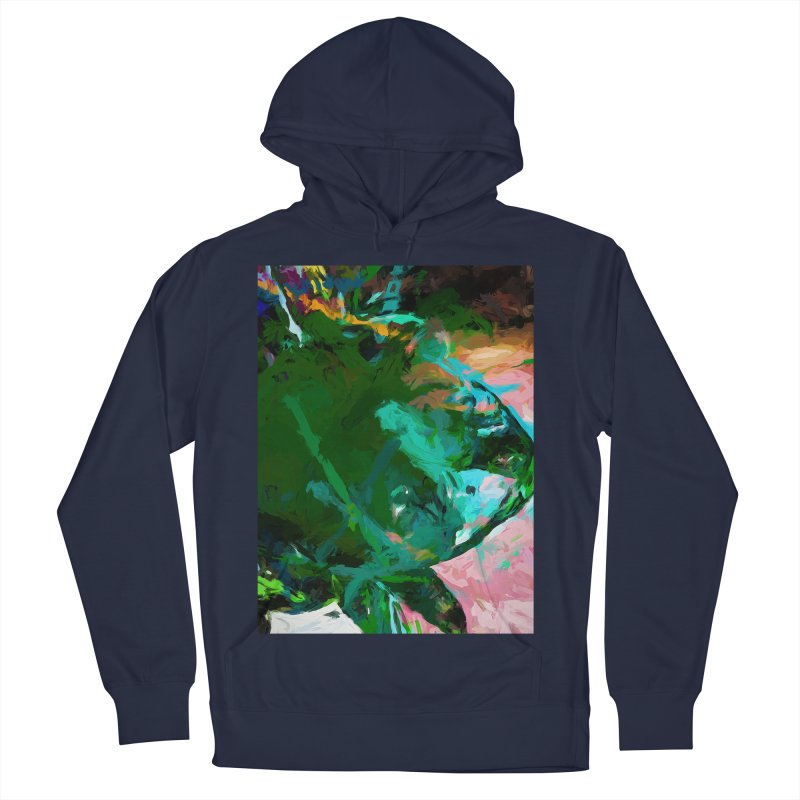 Green Leaf Killer Whale Turquoise Blue Men's French Terry Pullover Hoody by jackievano's Artist Shop
