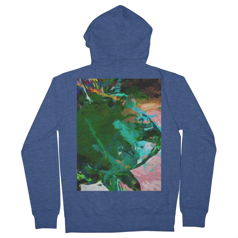 Green Leaf Killer Whale Turquoise Blue Men's French Terry Zip-Up Hoody by jackievano's Artist Shop