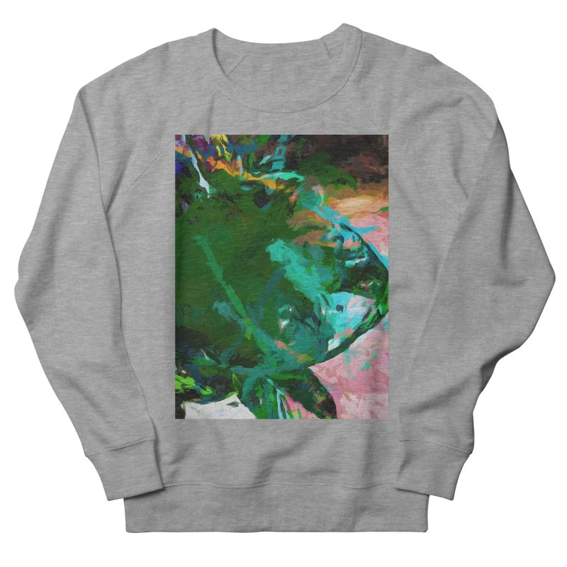 Green Leaf Killer Whale Turquoise Blue Men's French Terry Sweatshirt by jackievano's Artist Shop