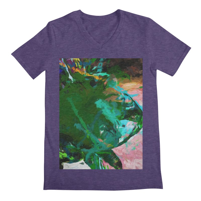 Green Leaf Killer Whale Turquoise Blue Men's Regular V-Neck by jackievano's Artist Shop