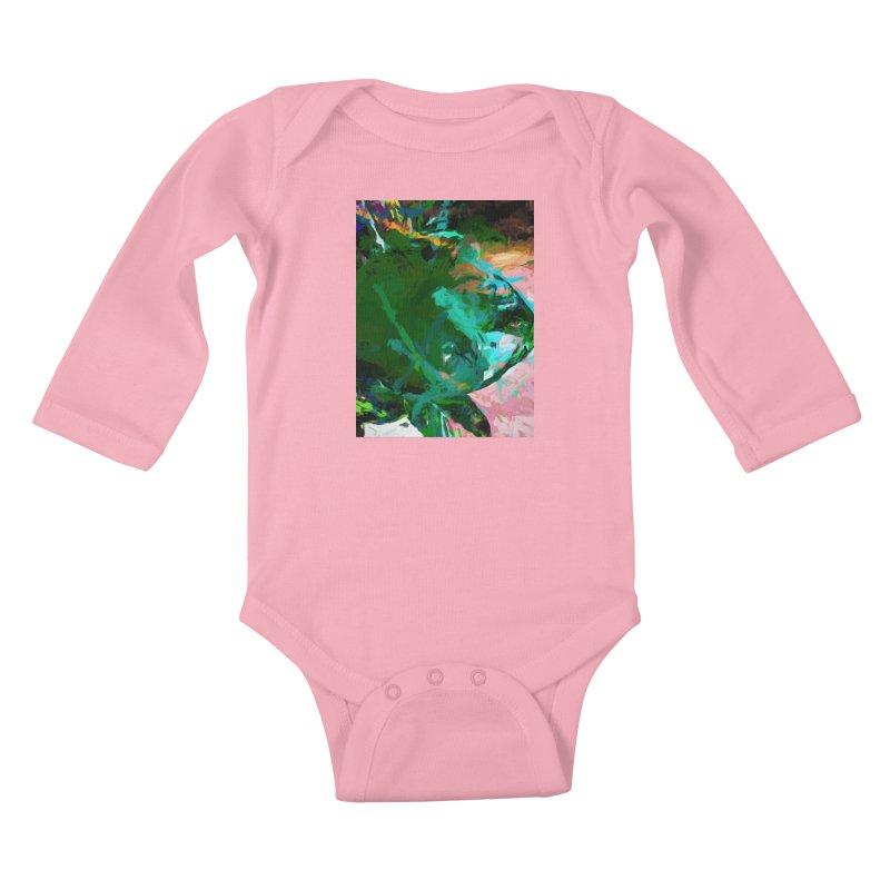 Green Leaf Killer Whale Turquoise Blue Kids Baby Longsleeve Bodysuit by jackievano's Artist Shop
