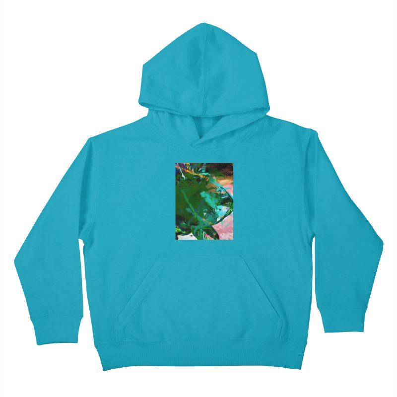 Green Leaf Killer Whale Turquoise Blue Kids Pullover Hoody by jackievano's Artist Shop