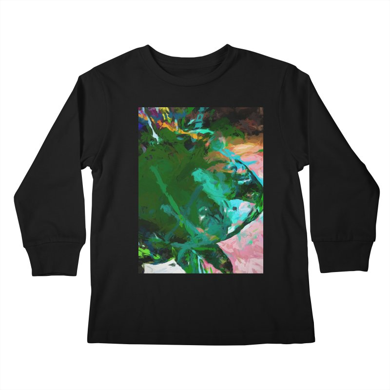 Green Leaf Killer Whale Turquoise Blue Kids Longsleeve T-Shirt by jackievano's Artist Shop