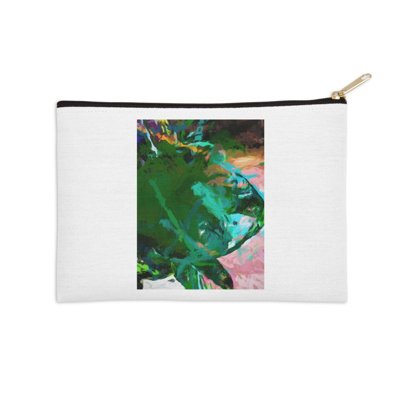 Green Leaf Killer Whale Turquoise Blue Accessories Zip Pouch by jackievano's Artist Shop