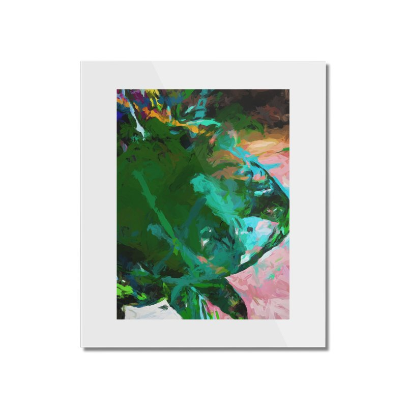 Green Leaf Killer Whale Turquoise Blue Home Mounted Acrylic Print by jackievano's Artist Shop