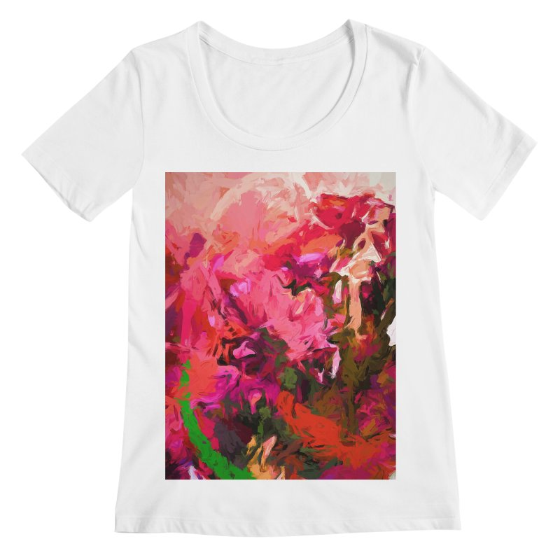 Flower Flames Soul Pink Orange Green Women's Regular Scoop Neck by jackievano's Artist Shop