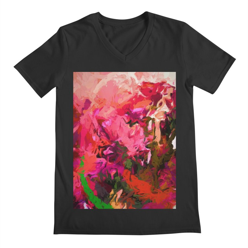 Flower Flames Soul Pink Orange Green Men's Regular V-Neck by jackievano's Artist Shop