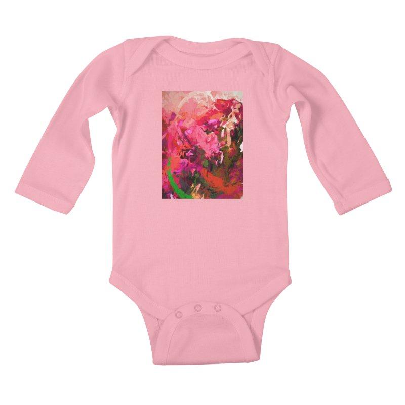Flower Flames Soul Pink Orange Green Kids Baby Longsleeve Bodysuit by jackievano's Artist Shop