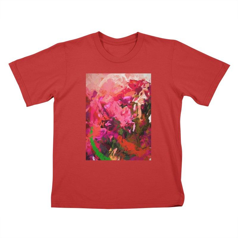 Flower Flames Soul Pink Orange Green Kids T-Shirt by jackievano's Artist Shop