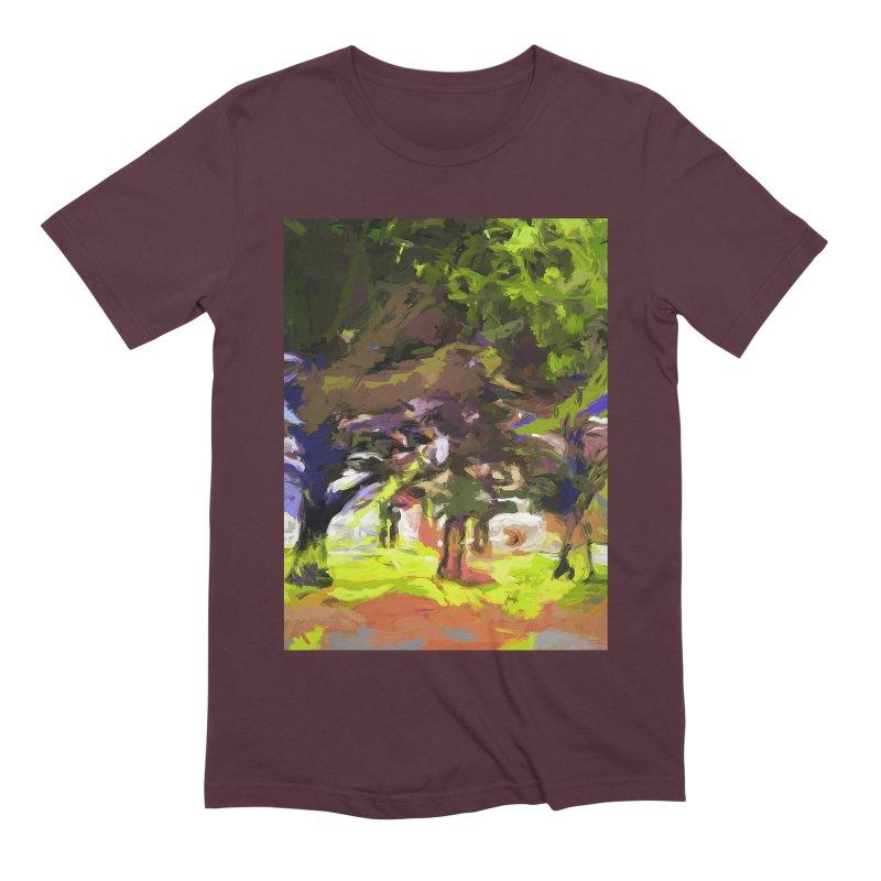 Tree Avenue Orange Green Indigo Blue Men's Extra Soft T-Shirt by jackievano's Artist Shop