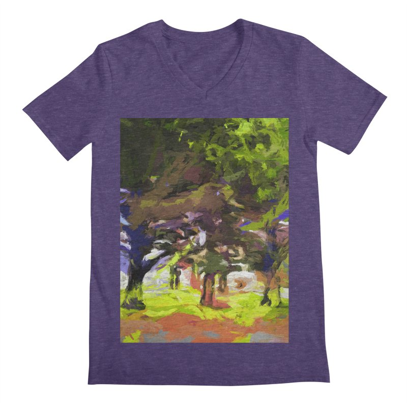 Tree Avenue Orange Green Indigo Blue Men's Regular V-Neck by jackievano's Artist Shop