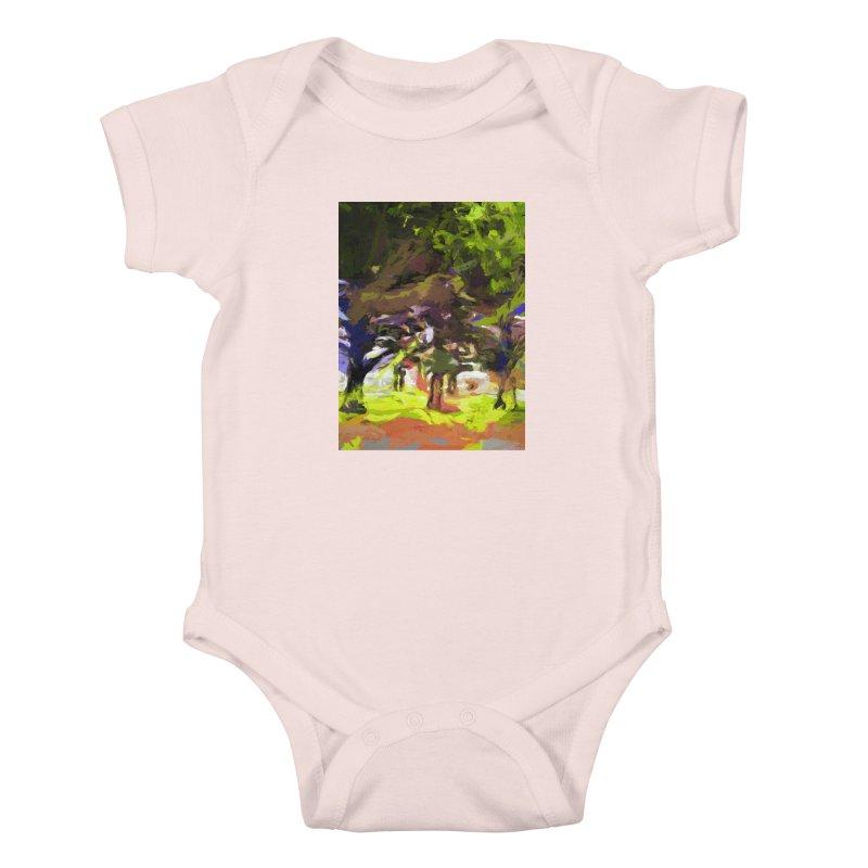 Tree Avenue Orange Green Indigo Blue Kids Baby Bodysuit by jackievano's Artist Shop