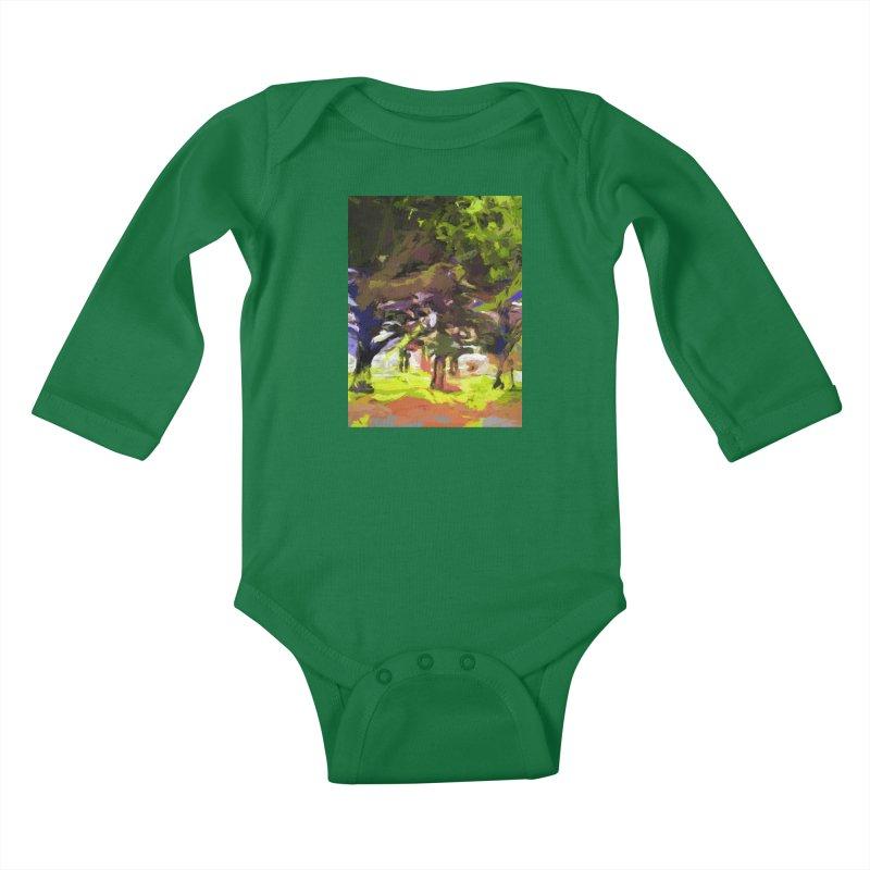 Tree Avenue Orange Green Indigo Blue Kids Baby Longsleeve Bodysuit by jackievano's Artist Shop