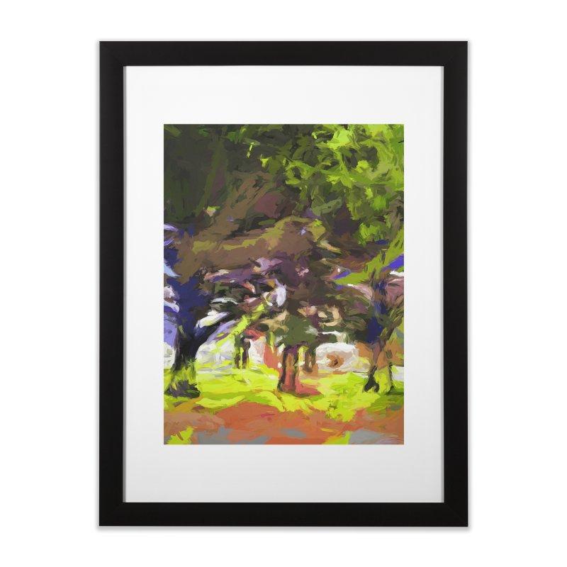 Tree Avenue Orange Green Indigo Blue Home Framed Fine Art Print by jackievano's Artist Shop