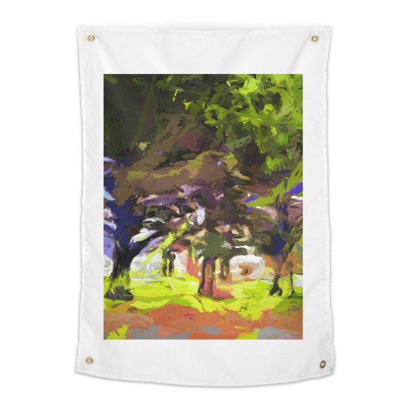 Tree Avenue Orange Green Indigo Blue Home Tapestry by jackievano's Artist Shop
