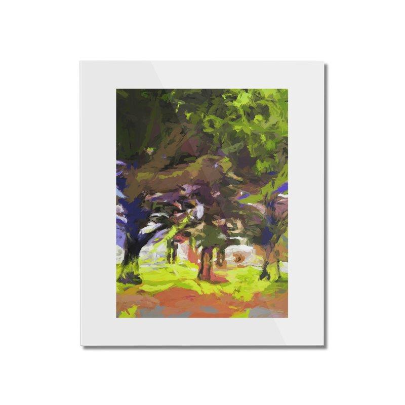 Tree Avenue Orange Green Indigo Blue Home Mounted Acrylic Print by jackievano's Artist Shop