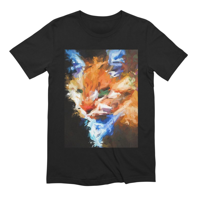 The Orange Cat in Light and Shadow Men's Extra Soft T-Shirt by jackievano's Artist Shop