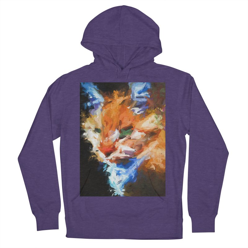 The Orange Cat in Light and Shadow Men's French Terry Pullover Hoody by jackievano's Artist Shop