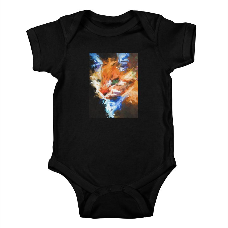 The Orange Cat in Light and Shadow Kids Baby Bodysuit by jackievano's Artist Shop