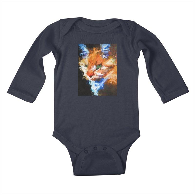 The Orange Cat in Light and Shadow Kids Baby Longsleeve Bodysuit by jackievano's Artist Shop