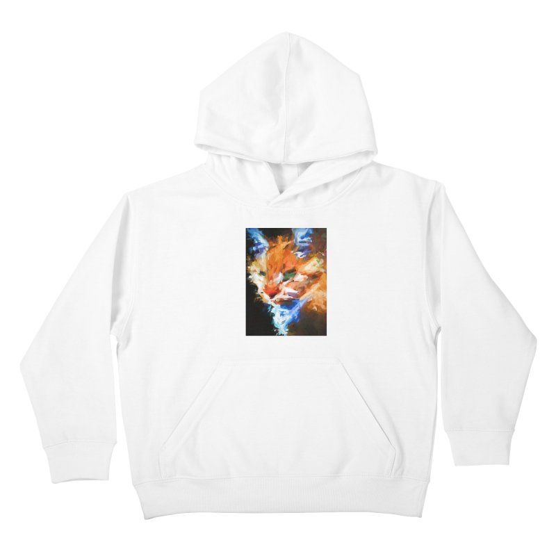 The Orange Cat in Light and Shadow Kids Pullover Hoody by jackievano's Artist Shop