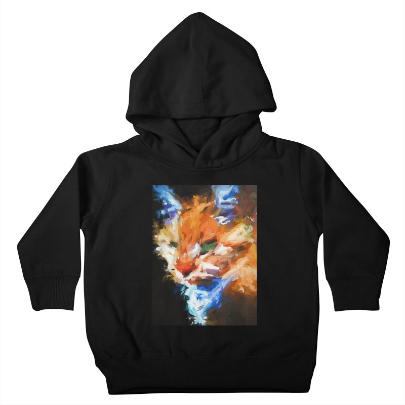 The Orange Cat in Light and Shadow Kids Toddler Pullover Hoody by jackievano's Artist Shop