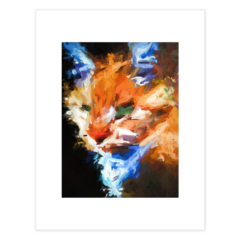 The Orange Cat in Light and Shadow Home Fine Art Print by jackievano's Artist Shop